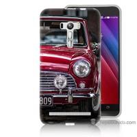 Bordo Asus Zenfone Selfie Kapak Kılıf Kırmızı Klasik Araba Baskılı Silikon
