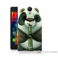 Bordo Casper Via E1 Kapak Kılıf Flütlü Panda Baskılı Silikon
