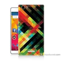 Bordo Casper Via M1 Kapak Kılıf Renkli Çizgiler Baskılı Silikon