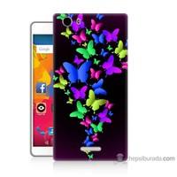 Bordo Casper Via M1 Kapak Kılıf Renkli Kelebekler Baskılı Silikon