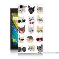 Bordo Casper Via V9 Kapak Kılıf Gözlüklü Kediler Baskılı Silikon