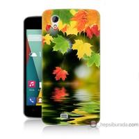 Bordo General Mobile Discovery 2 Mini Kapak Kılıf Renkli Yaprak Baskılı Silikon