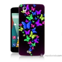 Bordo General Mobile Discovery 2 Mini Kapak Kılıf Renkli Kelebekler Baskılı Silikon