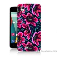 Bordo General Mobile Discovery 2 Mini Kapak Kılıf Pembe Çiçek Baskılı Silikon