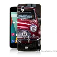 Bordo General Mobile Discovery 2 Mini Kapak Kılıf Kırmızı Klasik Araba Baskılı Silikon