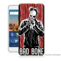 Bordo General Mobile Discovery 4g Andorid One Kapak Kılıf Bad Bone Baskılı Silikon