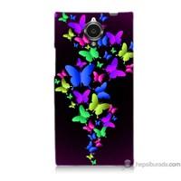 Bordo General Mobile Discovery Elite Kapak Kılıf Renkli Kelebekler Baskılı Silikon