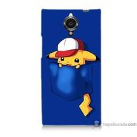 Bordo General Mobile Discovery Elite Kapak Kılıf Uykucu Pikachu Baskılı Silikon