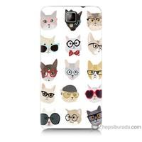 Bordo General Mobile Discovery 2 Kapak Kılıf Gözlüklü Kediler Baskılı Silikon