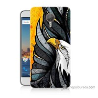 Bordo General Mobile Gm5 Plus Kapak Kılıf Sarı Fon Kartal Baskılı Silikon
