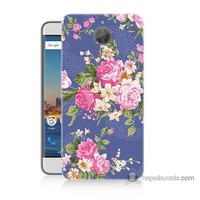 Bordo General Mobile Gm5 Plus Kapak Kılıf Renkli Çiçekler Baskılı Silikon