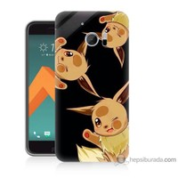 Bordo Htc 10 Kapak Kılıf Üçlü Pikachu Baskılı Silikon