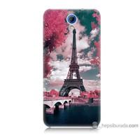 Bordo Htc Desire 620 Kapak Kılıf İlkbahar Paris Baskılı Silikon