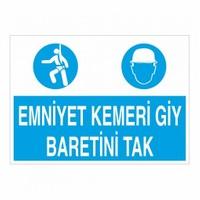 """Modülerteknik """"Emniyet Kemeri Giy Baretini Tak"""" 25X35cm"""