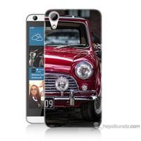 Bordo Htc Desire 626 Kapak Kılıf Kırmızı Klasik Araba Baskılı Silikon