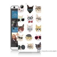 Bordo Htc Desire 626 Kapak Kılıf Gözlüklü Kediler Baskılı Silikon