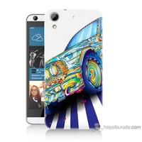 Bordo Htc Desire 626 Kapak Kılıf Mavi Araba Baskılı Silikon