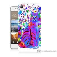 Bordo Htc Desire 728 Kapak Kılıf Renkli Kedicik Baskılı Silikon