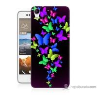 Bordo Htc Desire 728 Kapak Kılıf Renkli Kelebekler Baskılı Silikon