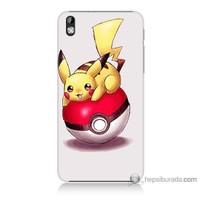Bordo Htc Desire 816 Kapak Kılıf Pokemon Topu Baskılı Silikon