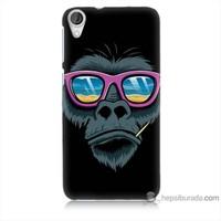 Bordo Htc Desire 820 Kapak Kılıf Gözlüklü Maymun Baskılı Silikon