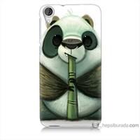 Bordo Htc Desire 820 Kapak Kılıf Flütlü Panda Baskılı Silikon