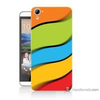 Bordo Htc Desire 826 Kapak Kılıf Renkli Kuşaklar Baskılı Silikon