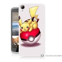 Bordo Htc Desire 828 Kapak Kılıf Pokemon Topu Baskılı Silikon