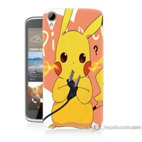 Bordo Htc Desire 828 Kapak Kılıf Düşünen Pikachu Baskılı Silikon