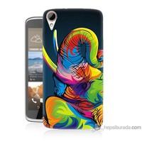 Bordo Htc Desire 828 Kapak Kılıf Renkli Fil Baskılı Silikon