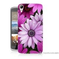 Bordo Htc Desire 828 Kapak Kılıf Mor Çiçek Baskılı Silikon