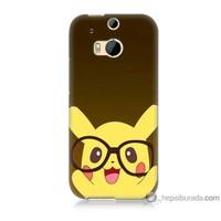 Bordo Htc One M8 Kapak Kılıf Gözlüklü Pikachu Baskılı Silikon