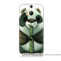 Bordo Htc One M8 Kapak Kılıf Flütlü Panda Baskılı Silikon