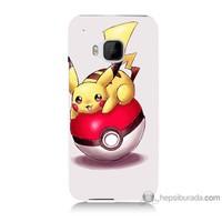 Bordo Htc One M9 Kapak Kılıf Pokemon Topu Baskılı Silikon
