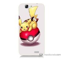 Bordo Huawei G7 Kapak Kılıf Pokemon Topu Baskılı Silikon