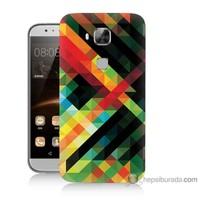Bordo Huawei G8 Kapak Kılıf Renkli Çizgiler Baskılı Silikon