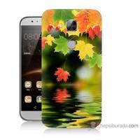 Bordo Huawei G8 Kapak Kılıf Renkli Yaprak Baskılı Silikon
