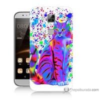 Bordo Huawei G8 Kapak Kılıf Renkli Kedicik Baskılı Silikon