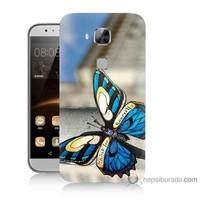 Bordo Huawei G8 Kapak Kılıf Mavi Kelebek Baskılı Silikon
