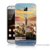 Bordo Huawei G8 Kapak Kılıf İstanbul Galata Baskılı Silikon