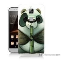 Bordo Huawei G8 Kapak Kılıf Flütlü Panda Baskılı Silikon