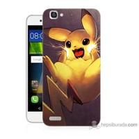Bordo Huawei Gr3 Kapak Kılıf Elektro Pikachu Baskılı Silikon
