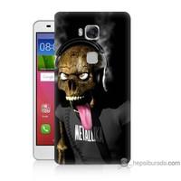 Bordo Huawei Gr5 Kapak Kılıf Kuru Kafa Baskılı Silikon