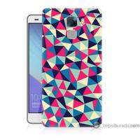 Bordo Huawei Honor 7 Kapak Kılıf Renkli Üçgenler Baskılı Silikon
