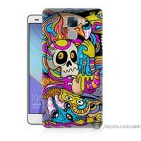 Bordo Huawei Honor 7 Kapak Kılıf Renkli Resim Baskılı Silikon