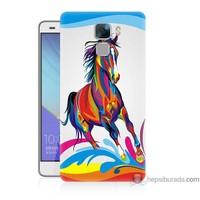 Bordo Huawei Honor 7 Kapak Kılıf Renkli At Baskılı Silikon
