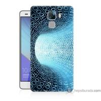 Bordo Huawei Honor 7 Kapak Kılıf Sayısal Tünel Baskılı Silikon