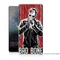 Bordo Huawei Mate S Kapak Kılıf Bad Bone Baskılı Silikon