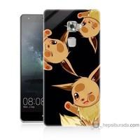 Bordo Huawei Mate S Kapak Kılıf Üçlü Pikachu Baskılı Silikon
