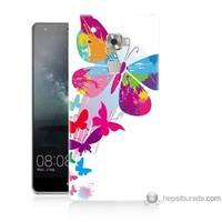 Bordo Huawei Mate S Kapak Kılıf Rengarenk Kelebek Baskılı Silikon
